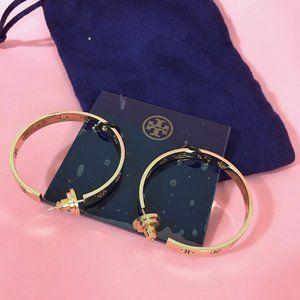 Brand New Tory Burch Gold Hoop Earrings w/ Pouch